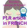 Thumbnail PLR in French - Recettes Masque de Beaute