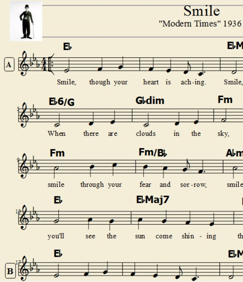 Product picture Smile - Charlie Chaplin Tranposable Lead Sheet Music