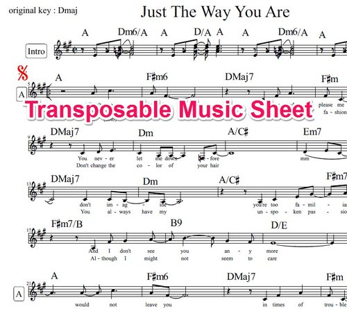 Product picture Just The Way You Are Lead Sheet - Billy Joel (transposable)