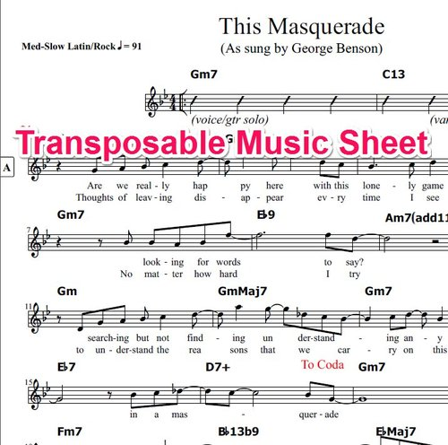 Product picture This Masquerade Lead Sheet (Transposable)